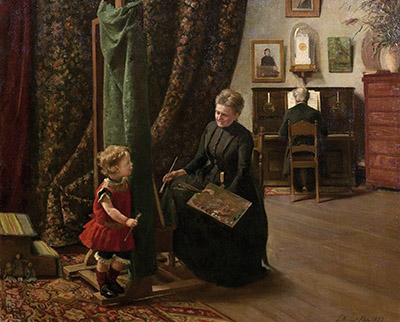 Emilie Mundt: Malerinde og barn i atelieret (1893)