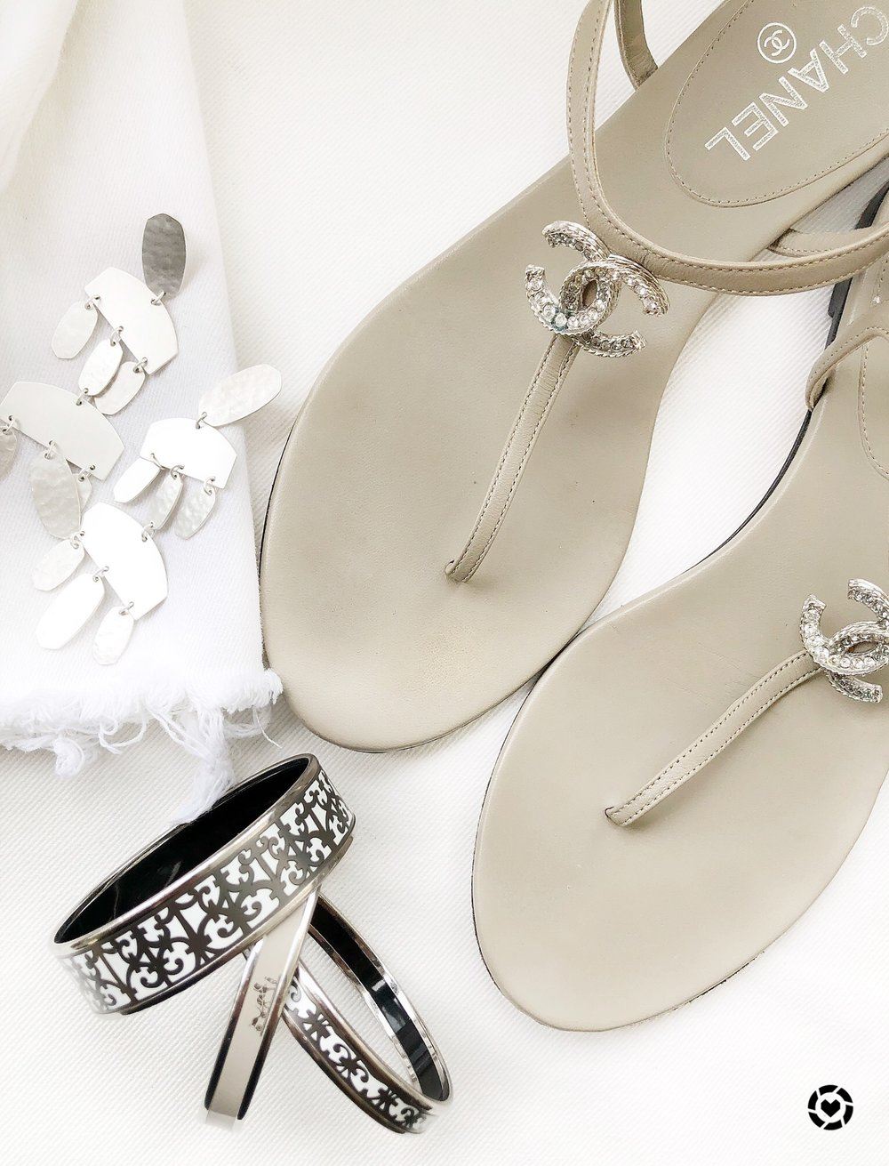 Nude Chanel Flats with Kendra Scott Earrings and Grey Hermes Enamel Bangles