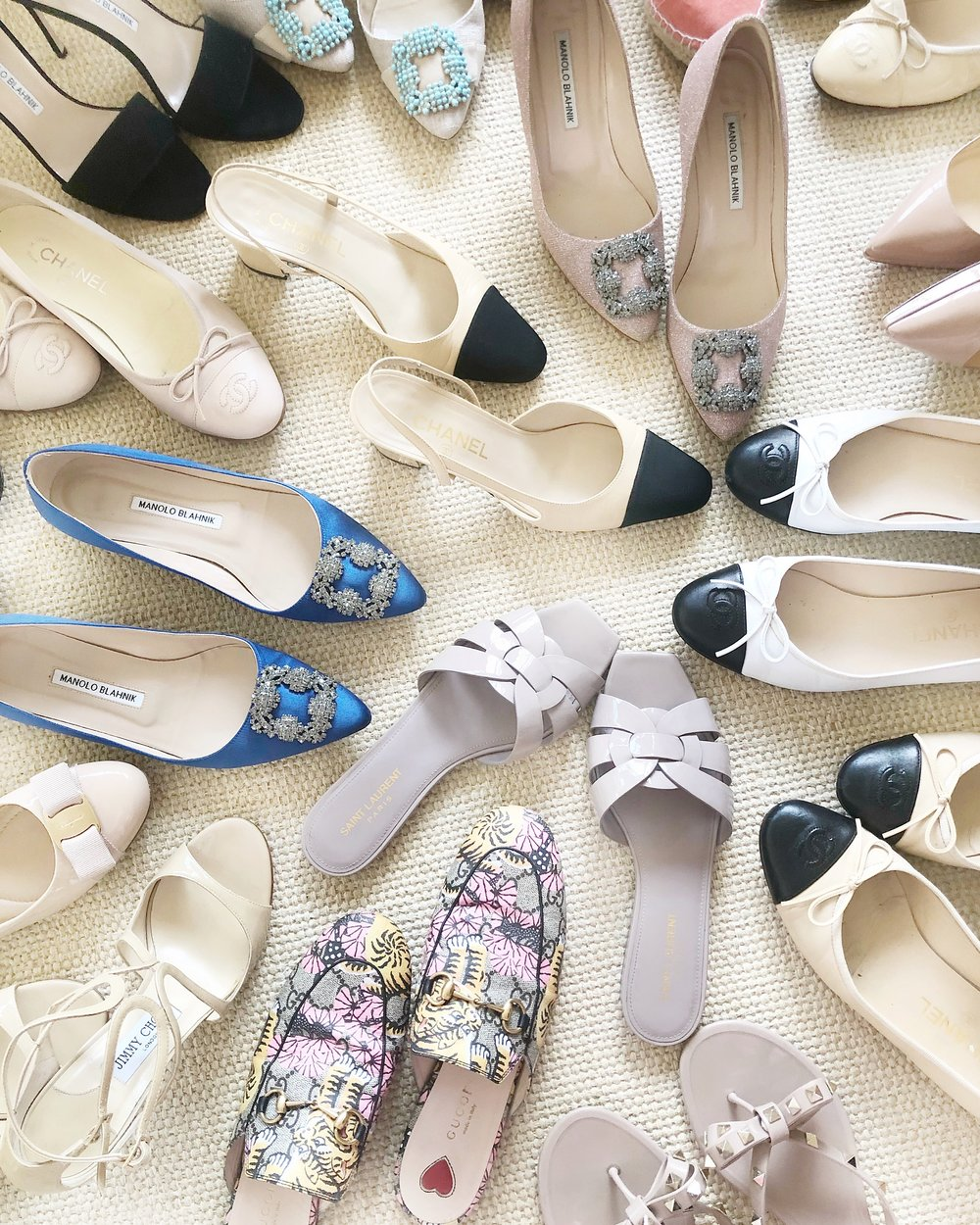 Manolo Blannik Hangisi Flat, YSL Tribute Flat, Chanel Slingback Chanel Ballet Flat Designer Shoes