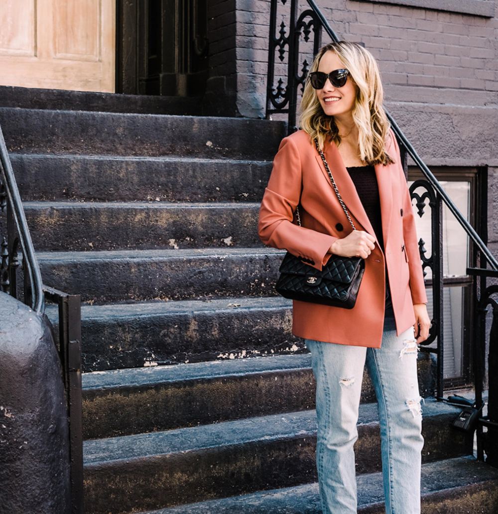 Grace Atwood- The Stripe- Chanel Handbag, Blazer and Jeans In Brooklyn
