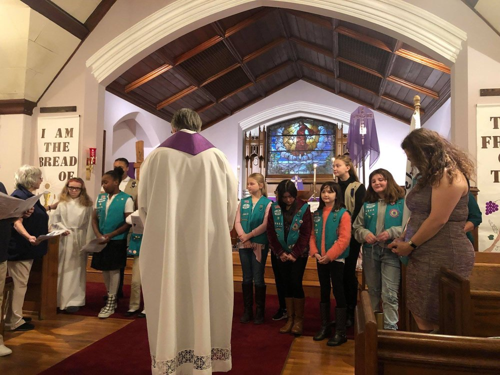 Girl Scout Sunday - Holy Trinity was pleased to host Girl Scout Sunday on March 10th. Girl Scouts from Bellerose and Bayside. The Girl Scouts and leaders participated in the 9:00 am family service by offering the prayers of the people. Thank you to the Troop Leaders for coordinating this event and for all they do help the girls grow into caring and independent women.Girl Scout Sunday is the start of Girl Scout Week, which commemorates the first meeting of the Girls Scouts on March 12, 1912.