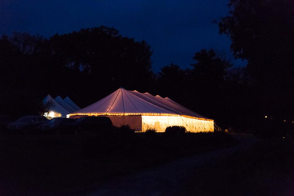 dark night photo of wedding tent