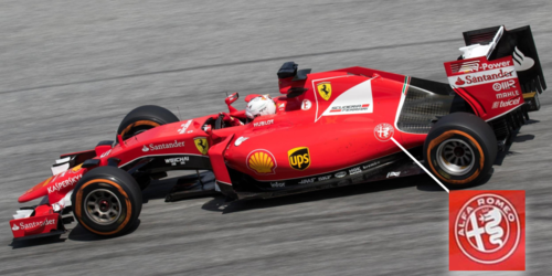 The 2015 Ferrari F1 car featuring the Alfa Romeo logo. Image credit: Morio [ CC BY-SA 4.0 ], from Wikimedia Commons