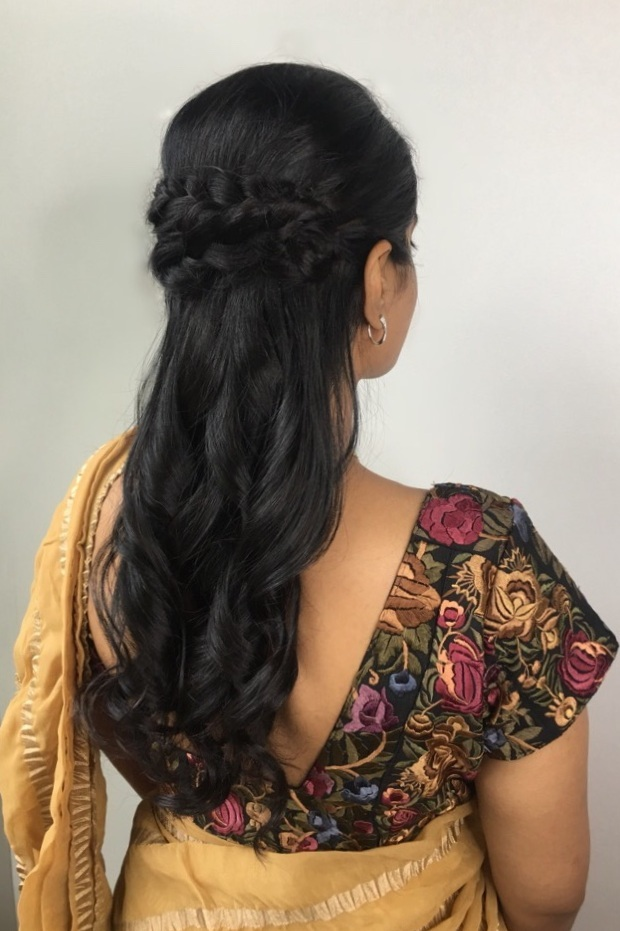 Half Up Multi French Braids:  Similar to the twisted half up, this 'do allows for free flowing movement, with curls cascading down your back. The collection of braids at the crown of your head make for a princess look that could be straight out of a fairy tale! Everyone deserves to feel like a princess for their special event.