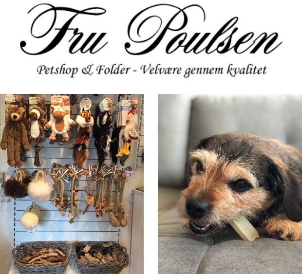 Petshop & foder -velvære gennem kvalitet - Fru Poulsen har løbende hjulpet os med hundefoder til fylde sultne maver og legetøj til kvikke hundehoveder i Bosnien. Kig forbi deres butikker i Køge eller på Østerbro og Frederiksberg i København hvis du skal forkæle vovsen!