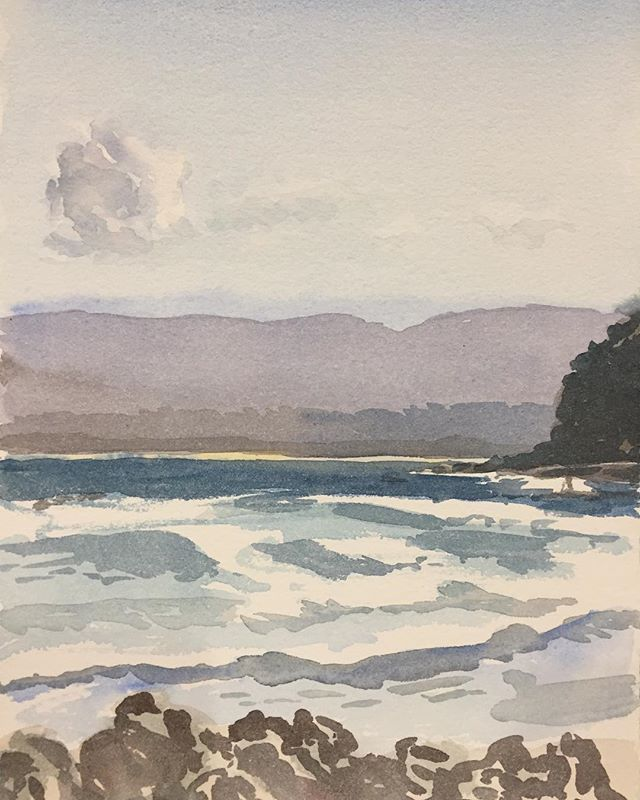 Had a great day painting this at Caves Beach, NSW South Coast, watercolour on paper #pleinairpainting  #pleinairwatercolour #pleinairwatercolor #australianlandscapepainting #australianlandscape