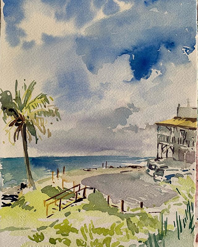 Rainbow Bay watercolour sketch from this afternoon #pleinairpainting #watercolour #paintfromlife