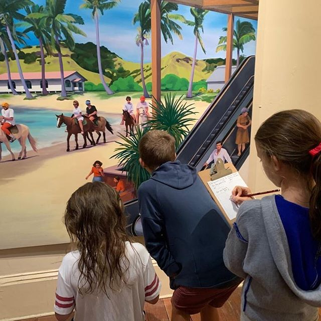 "Young viewers drawing the people in Kyra Henley's painting called ""escalator"" in the group show NEW NOW @robingibsongallery @kyrahenley"