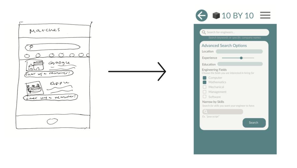 Search screen concept sketch versus final design