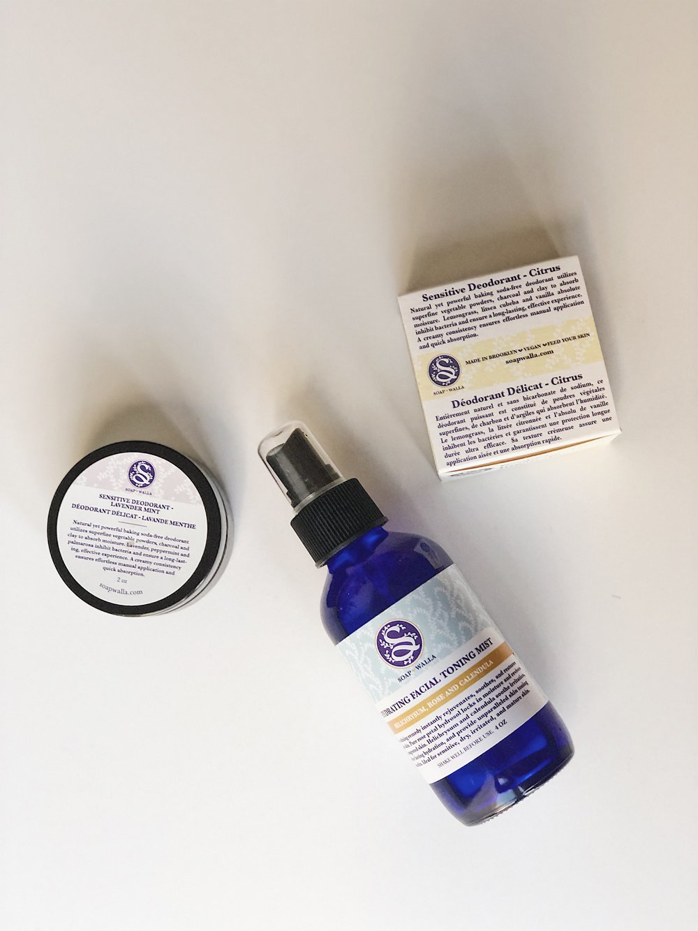 My current favorites from Soapwalla: natural deodorants and facial toning spray.