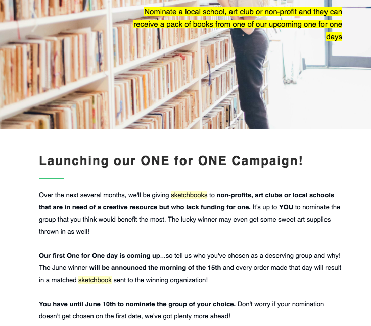 Launched and wrote copy for a monthly donation campaign at The Sketchbook Project, matching a day's sales with sketchbooks and art supplies given to a nominated charity. - For Brooklyn Art Library/The Sketchbook Project