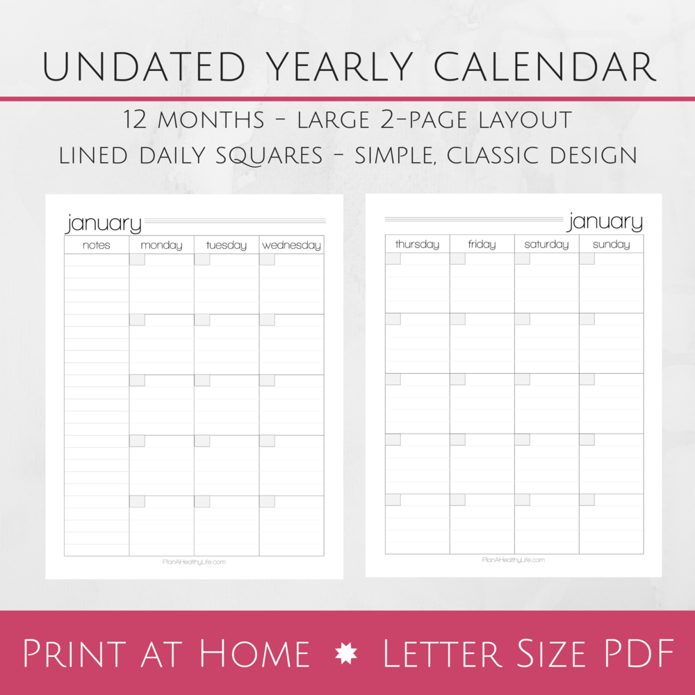 undated 12 month printable calendar large 2 page layout plan a rh planahealthylife com