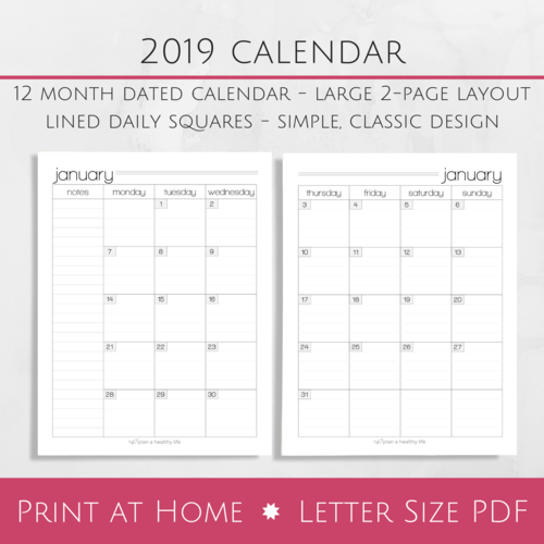Printable 2019 Monthly Calendar Large 2 Page Layout Plan A