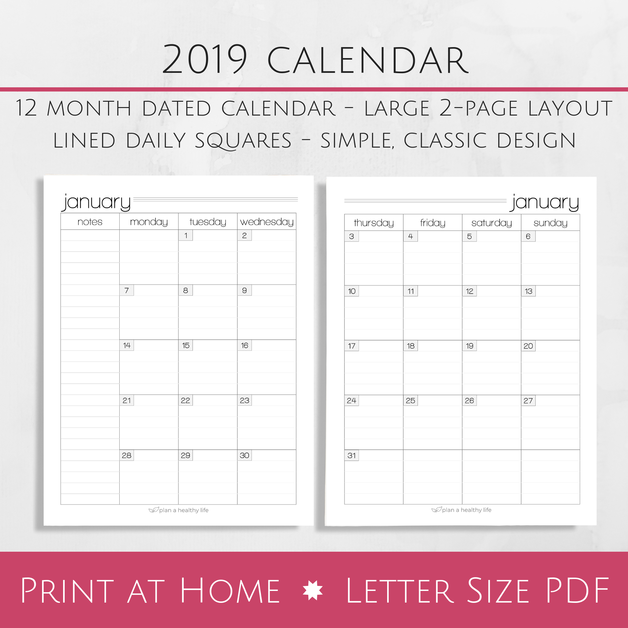 printable 2019 monthly calendar large 2 page layout plan a rh planahealthylife com