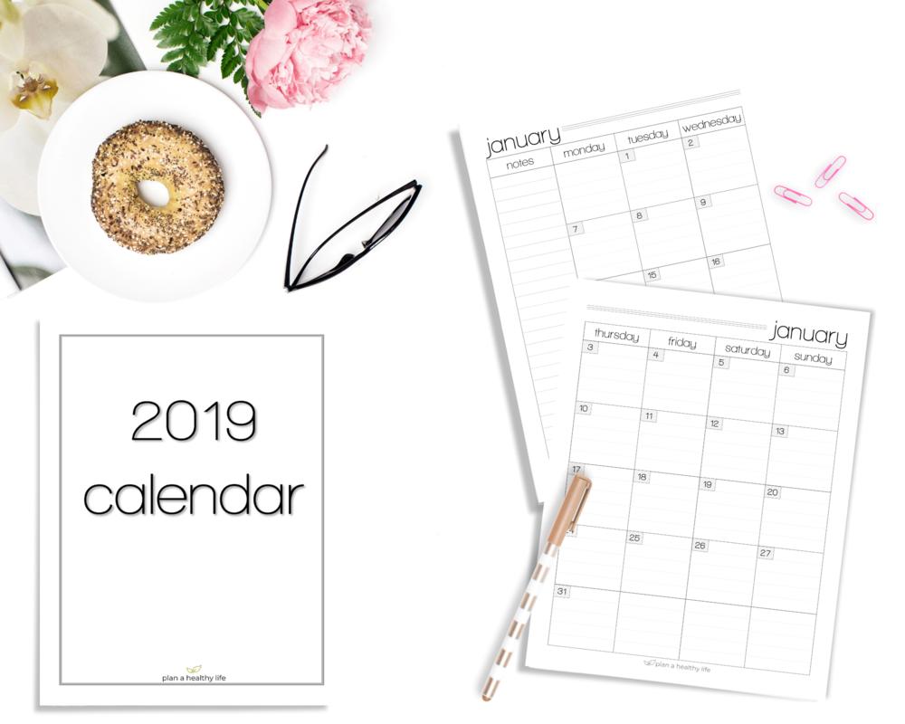 2019 calendar plan a healthy life