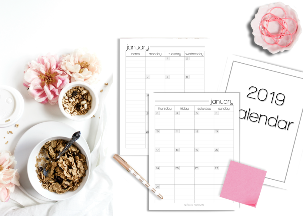 december freebie 2019 calendar plan a healthy life