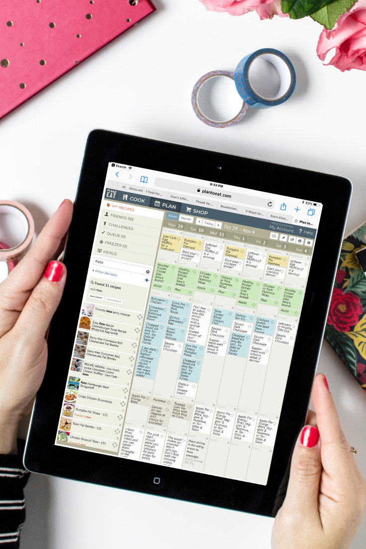 Plan meals in a snap with Plan To Eat… - Collect recipes from anywhere, drag-and-drop recipes for speedy meal planning, print shopping list, or access on your phone!