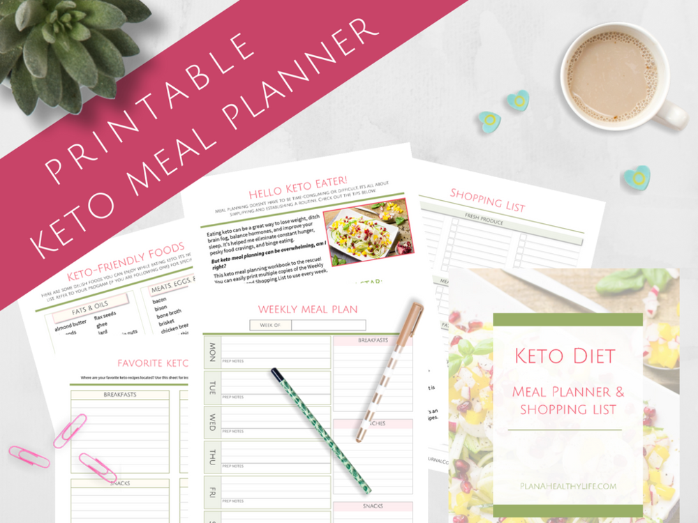 Free printable keto meal planner - Get organized while getting healthy, with printable blank meal planner, shopping list, list of keto-friendly foods, tips, and more!