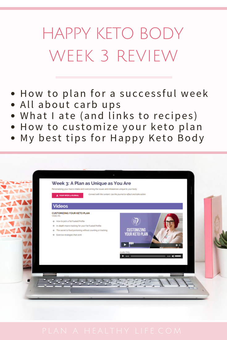 Happy Keto Body Review Week 3. All about carb ups, how to customize your keto plan, what I ate, my results, and my best tips!