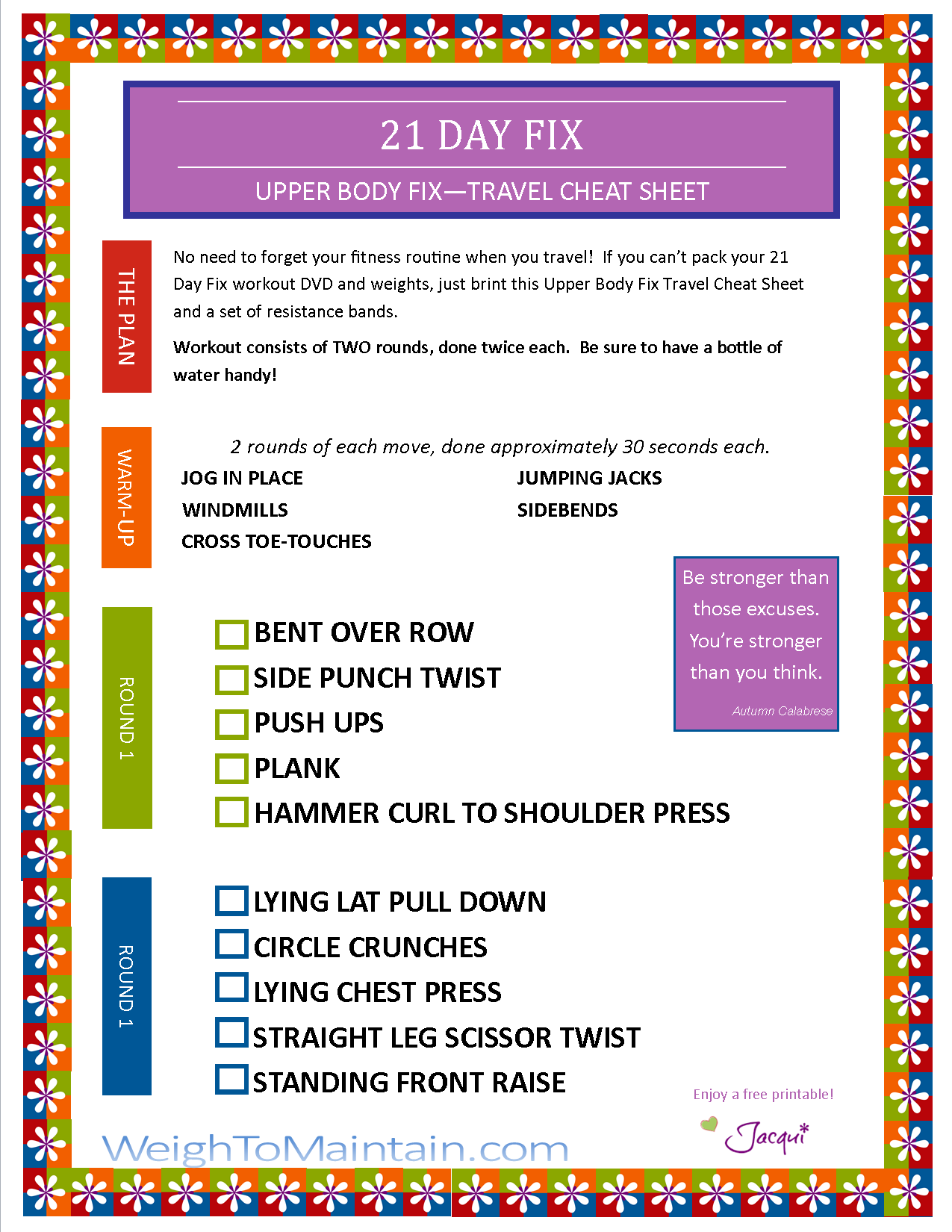 graphic about 21 Day Fix Workout Schedule Printable named Printables Blog site Software A Healthful Daily life
