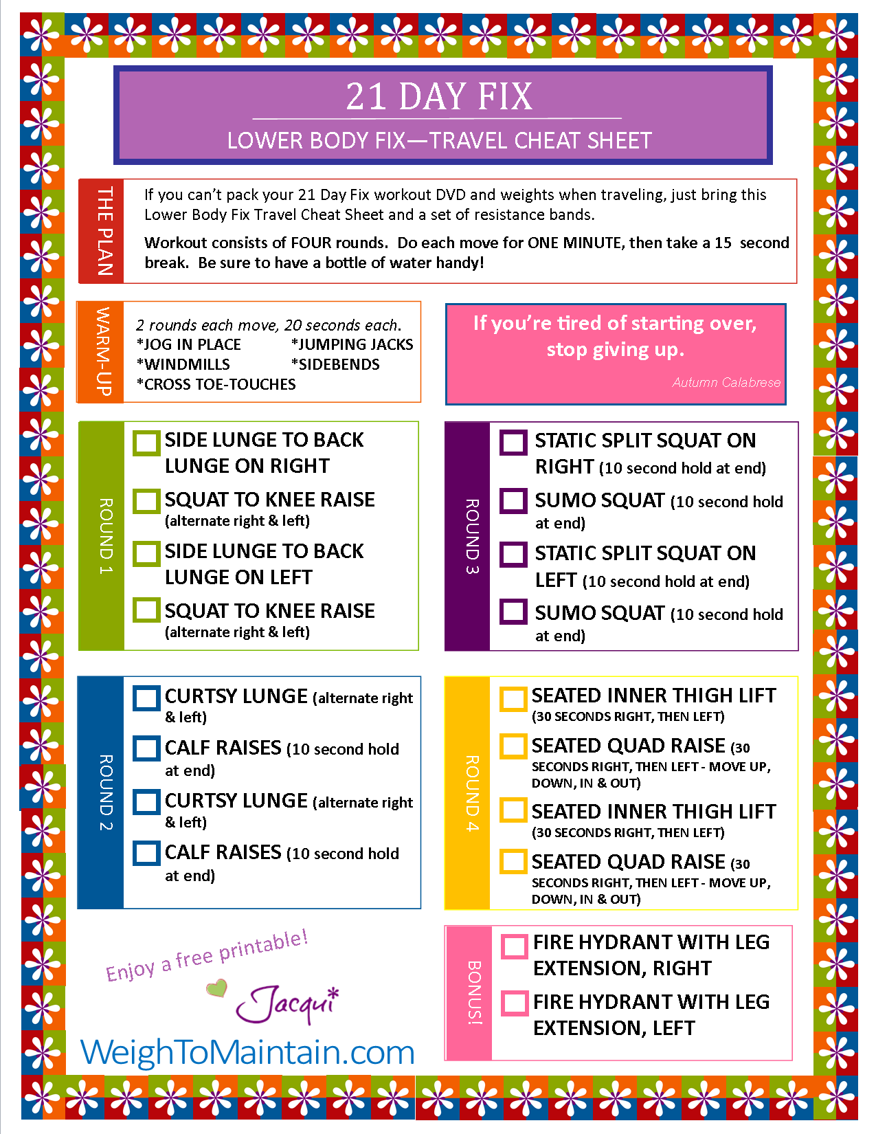 This is a graphic of 21 Day Fix Workout Schedule Printable inside cardio