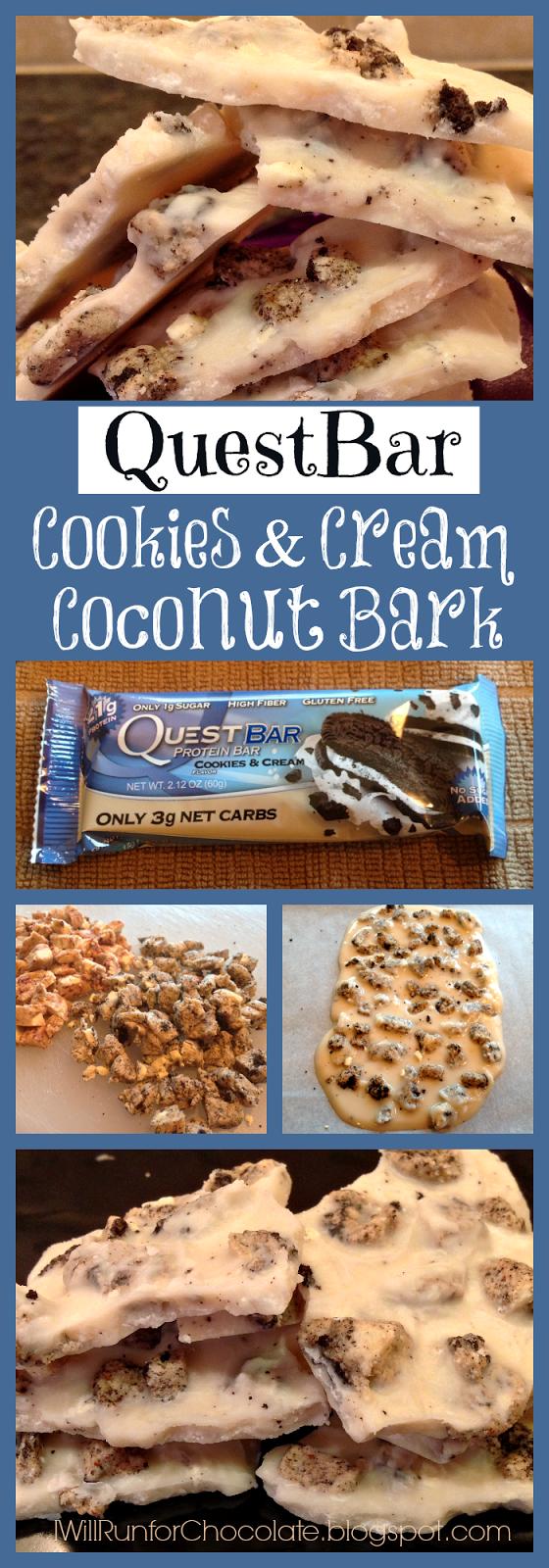 Quest Bar Cookies and Cream Coconut Bark Recipe