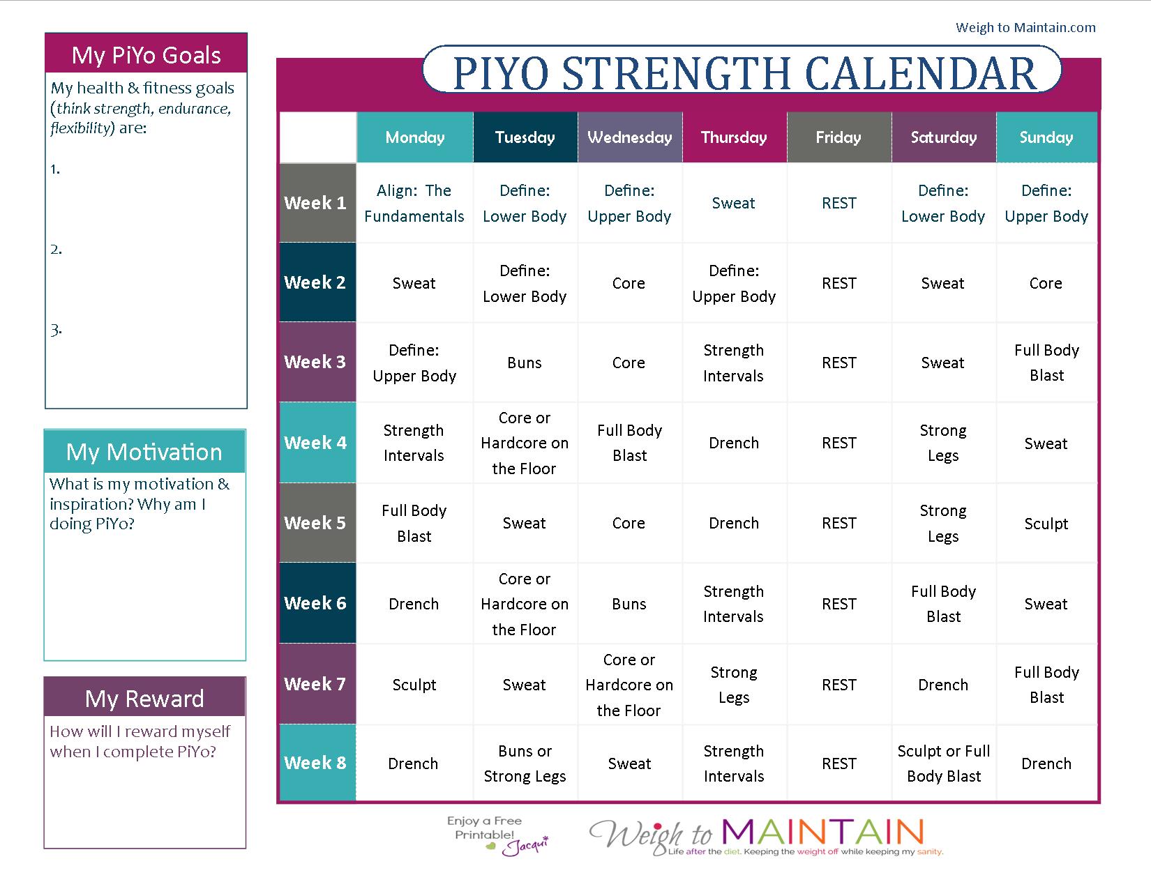 PiYo Calendar Strength