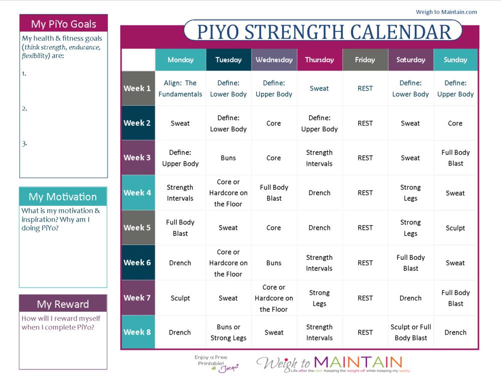Click to download the PiYo Strength Calendar.