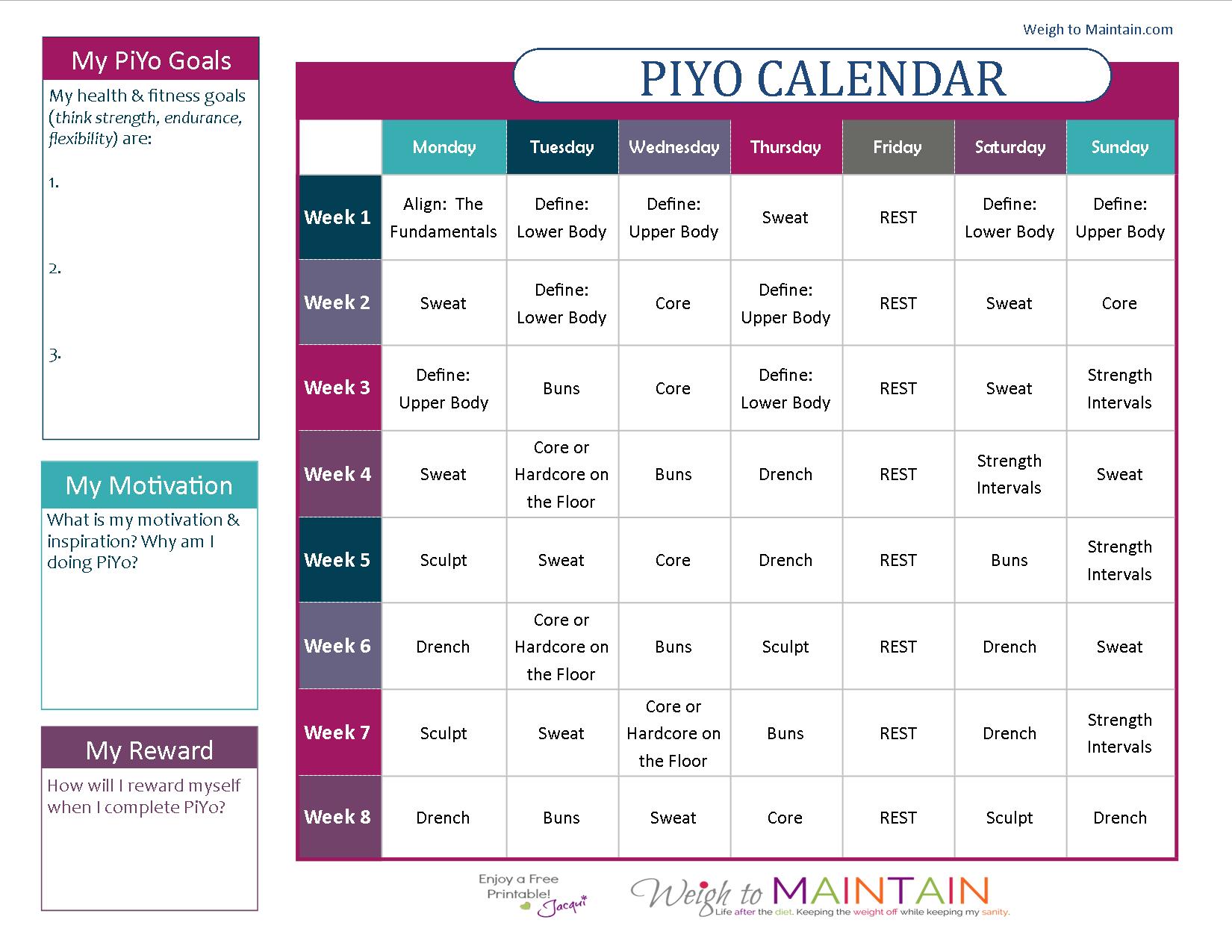 PiYo Calendar