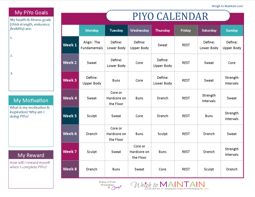 Click this image to download and print the Piyo Calendar.