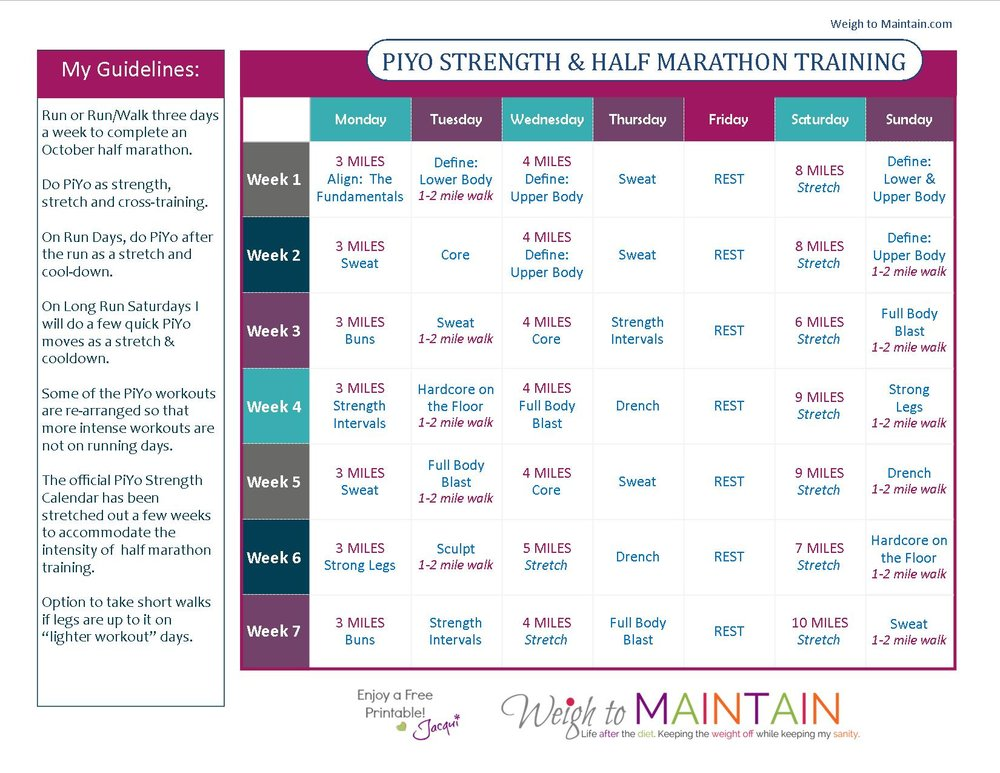 PiYo and Half Marathon Training
