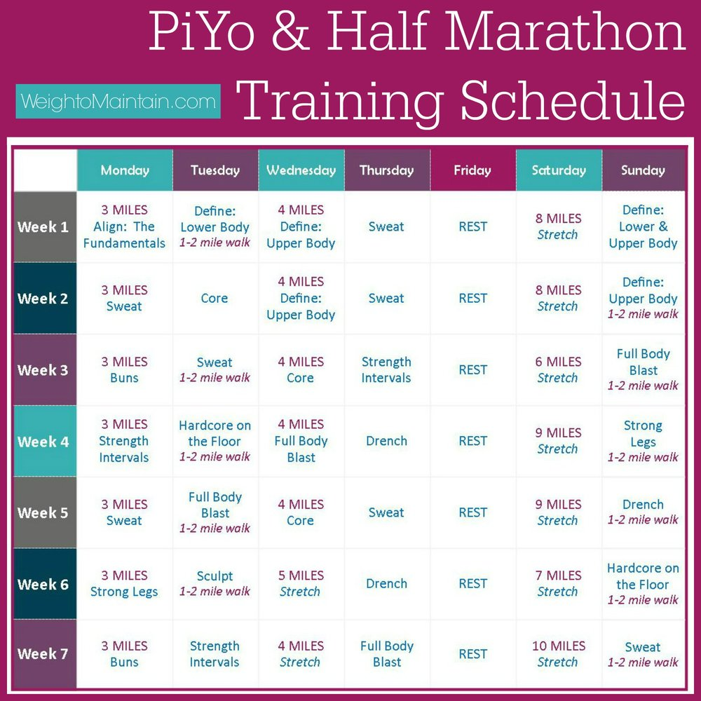piyo half marathon training