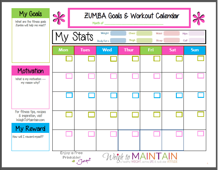 zumba workout calendar