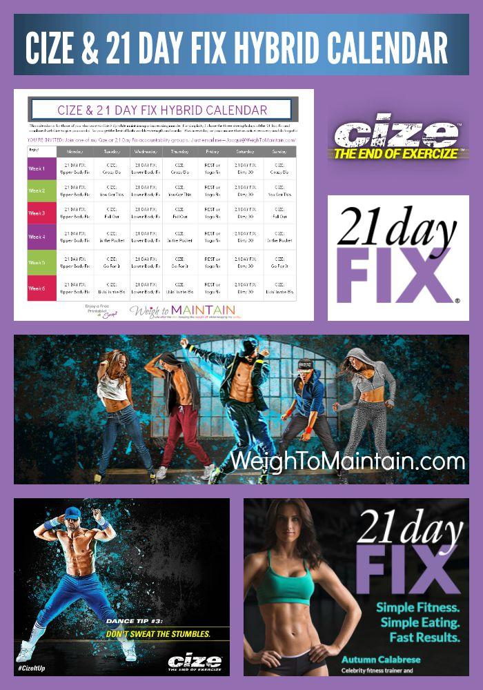 cize 21 day fix hybrid calendar pinterest