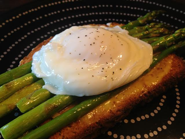 poached eggs with asparagus toast by kathy s