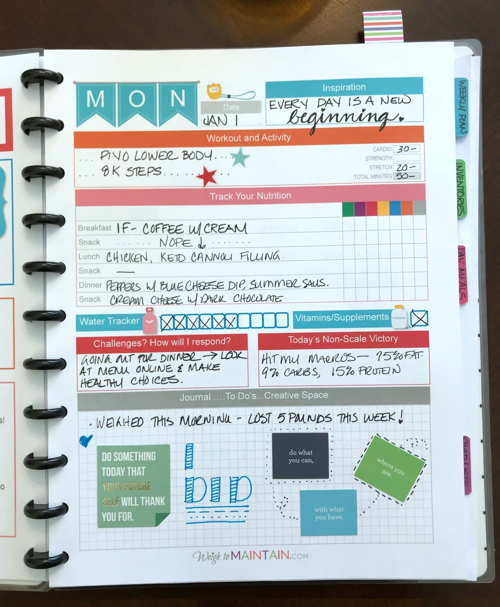 daily page fitness planner