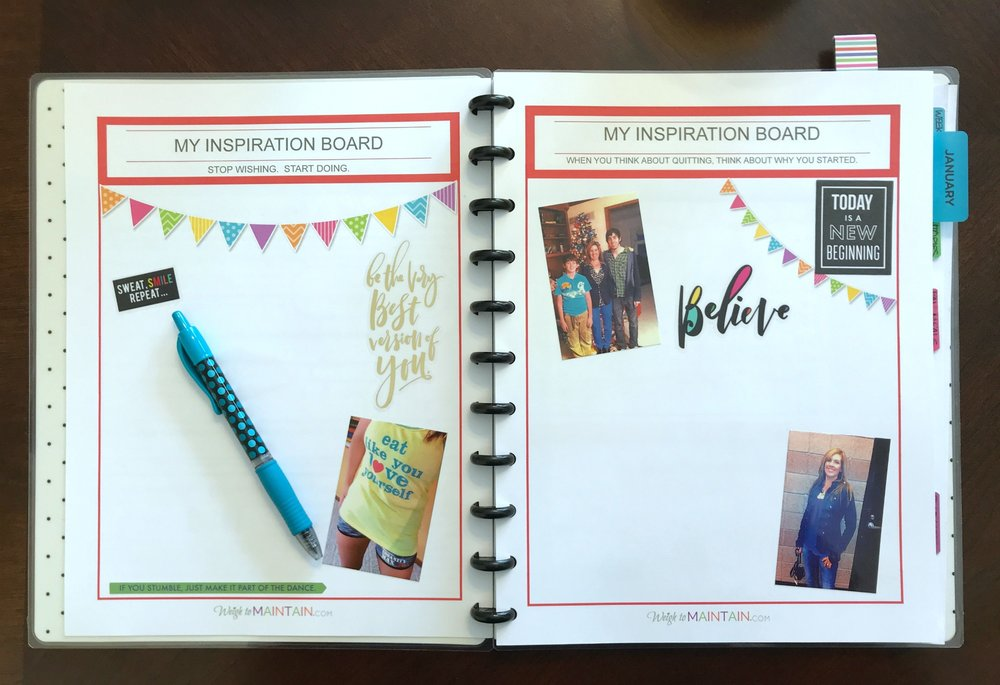 inspiration board fitness planner