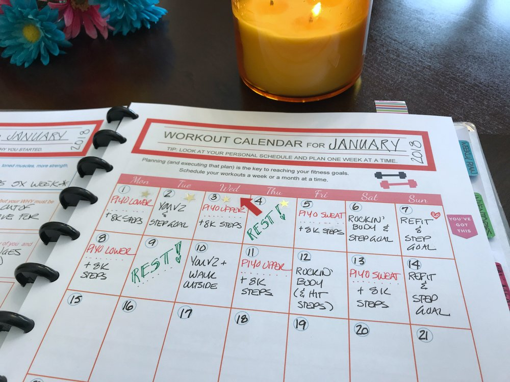 monthly workout calendar fitness planner