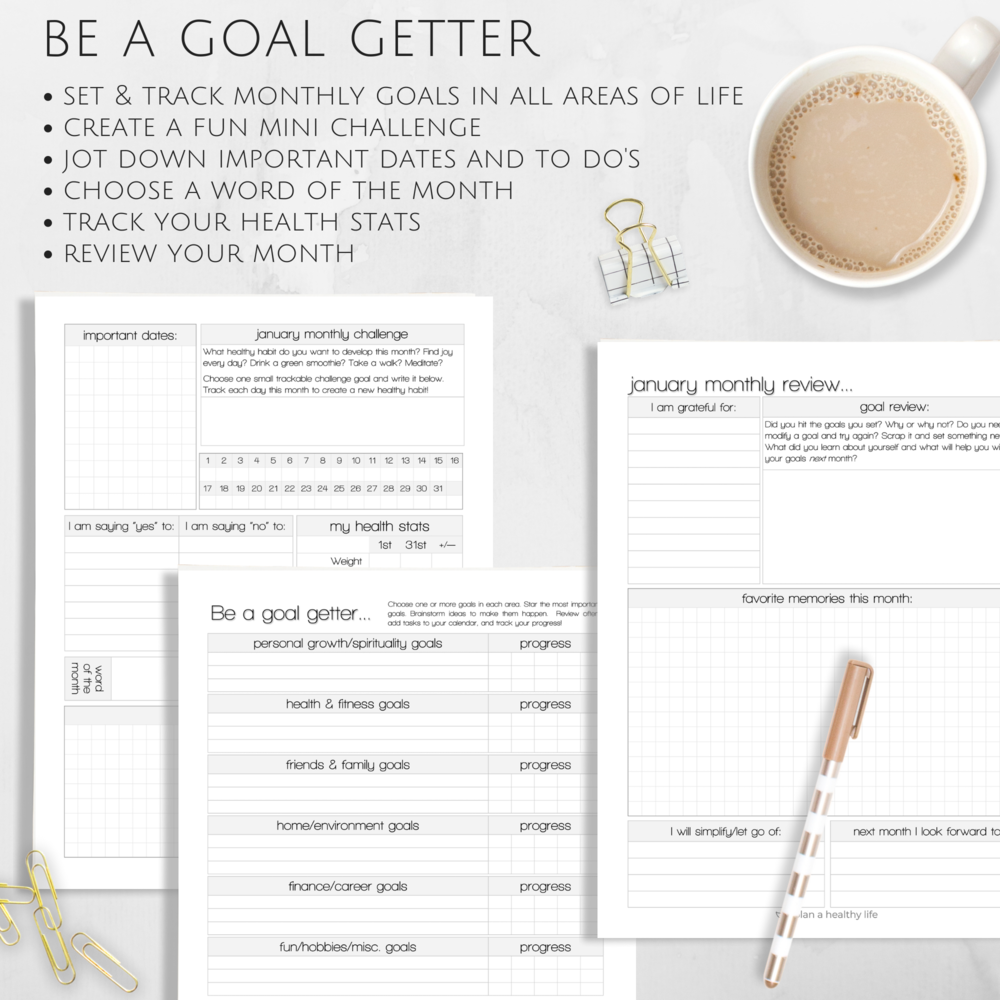 Monthly goal setting system with the Plan a Healthy Life Planner.