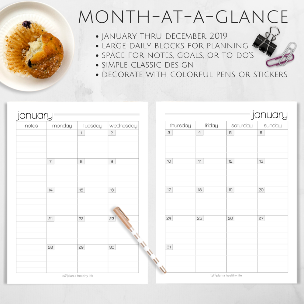Month at a glance with the Plan a Healthy Life Planner.