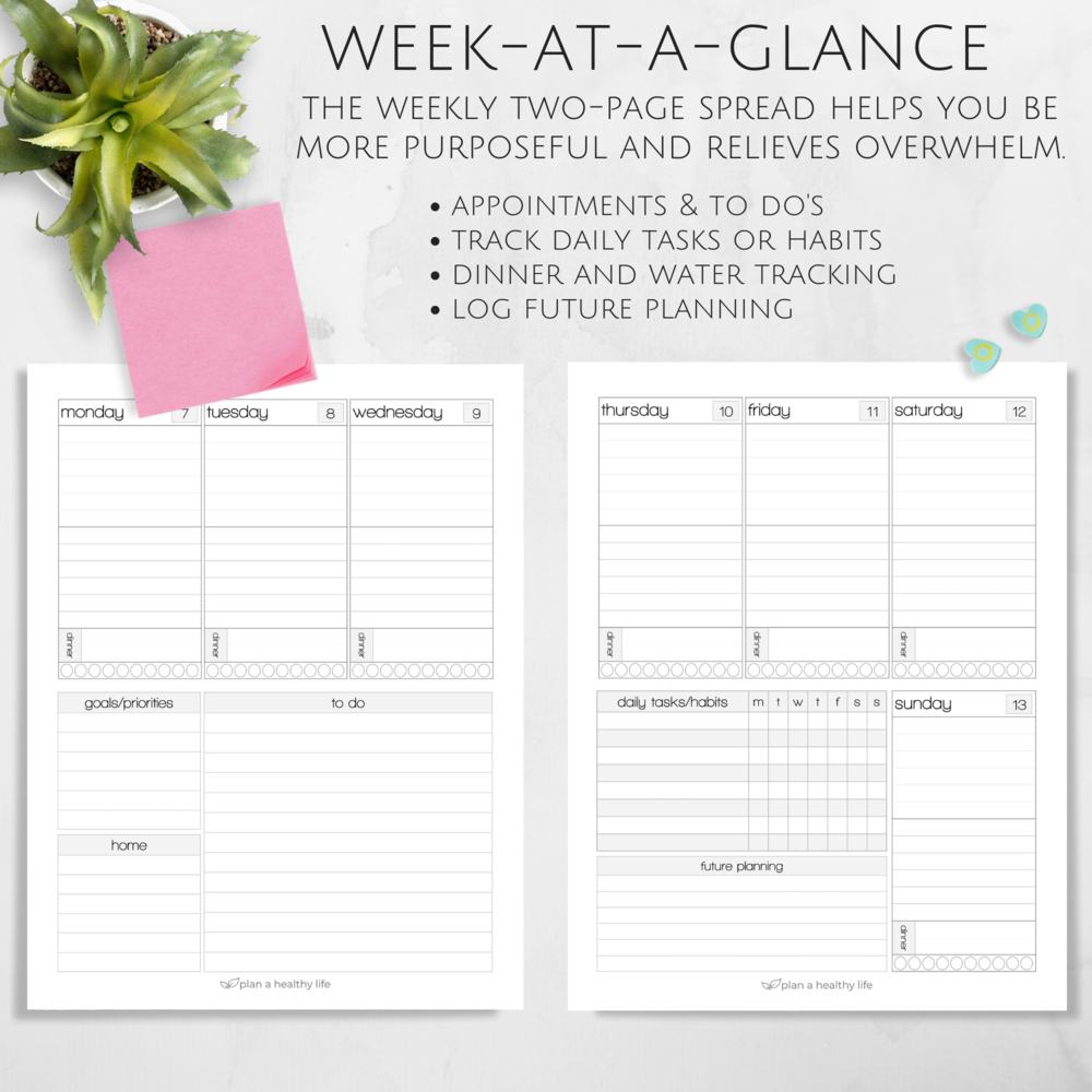 Weekly planning pages with Plan a Healthy Life Planner.