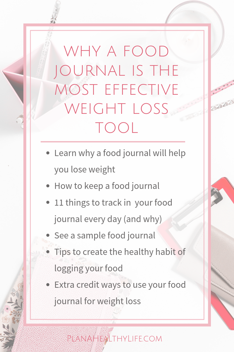 Why a food journal is the most effective weight loss tool and 11 things to write in your food journal every day. Plan a Healthy Life