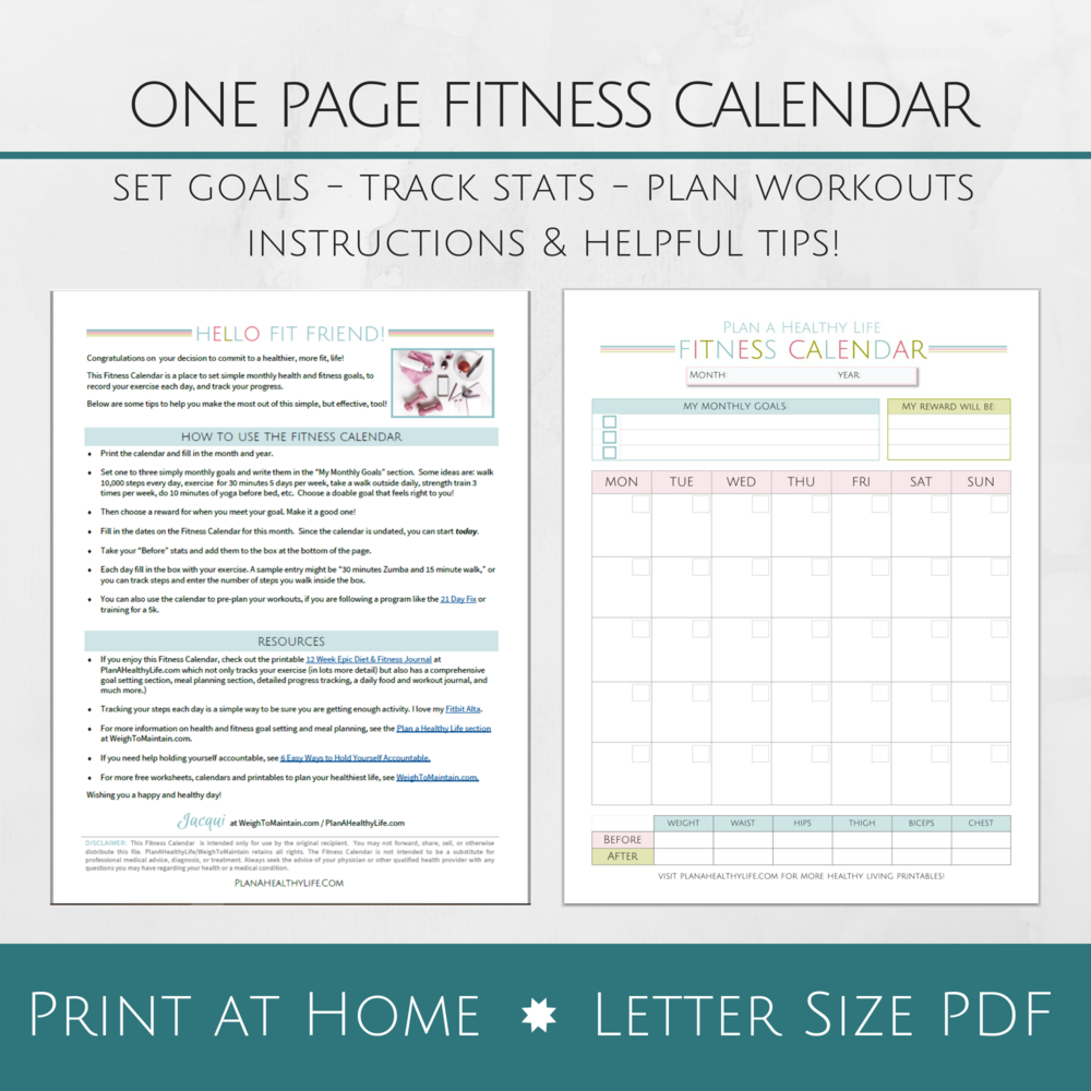 Free printable fitness calendar - Track goals and workouts for an entire month!