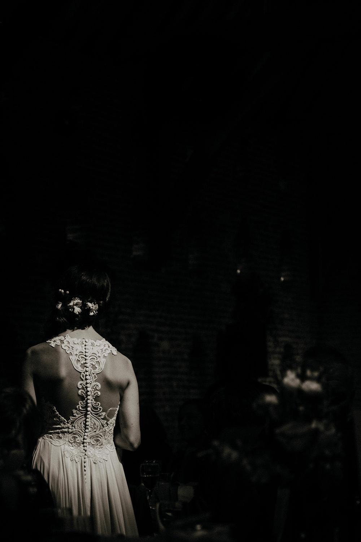 Bride in Designer Lace Wedding Dress
