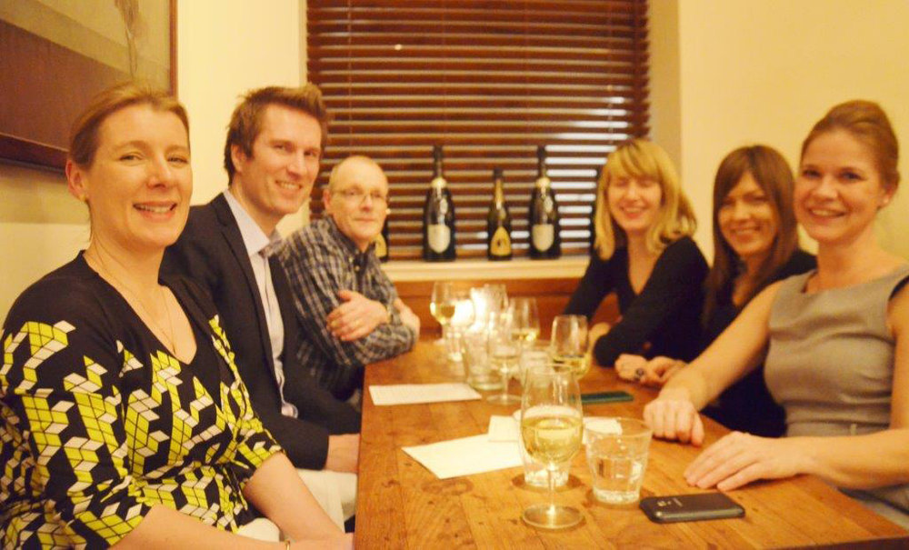A meal to celebrate the publication of  Made in Italy  at Bocca di Lupo, London, January 2014. Left to right: Grace Lees-Maffei, Kjetil Fallan, Jonathan Morris, Cat Rossi, Rebecca Barden, Lisa Hockemeyer.