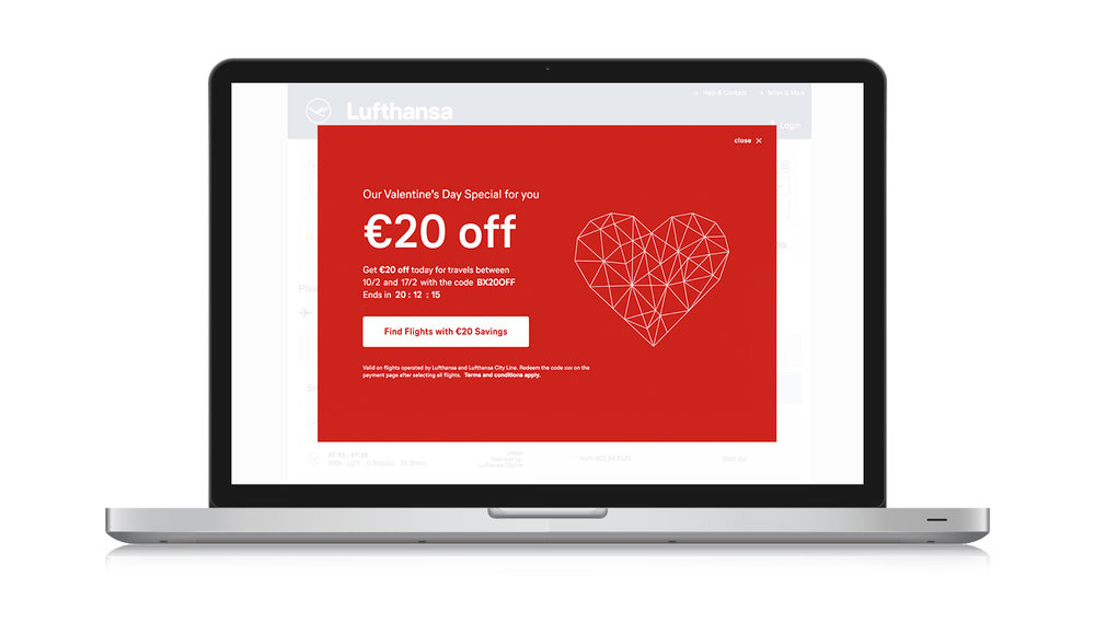 Valentine's Day promo echo overlay for desktop