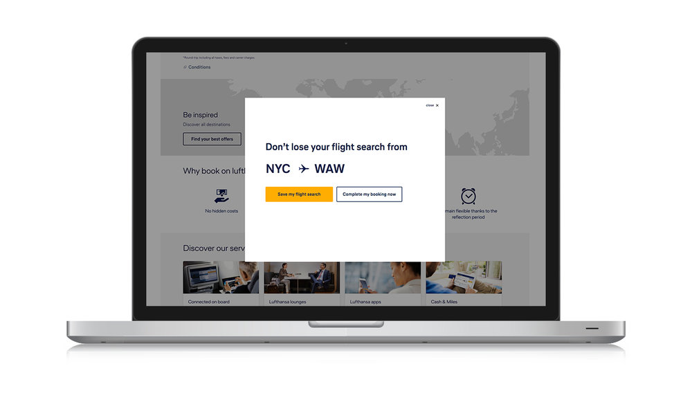 Dynamic flight search abandonment overlay on desktop
