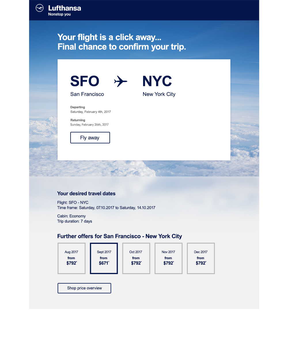 Flight search abandonment email on desktop