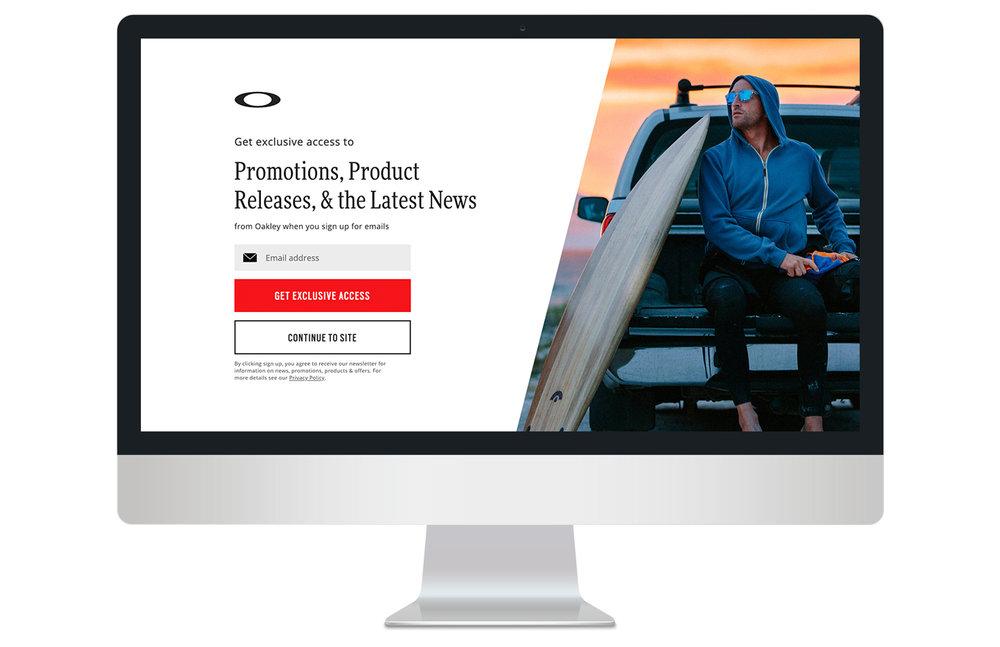 Full screen entrance overlay on desktop (summer imagery)