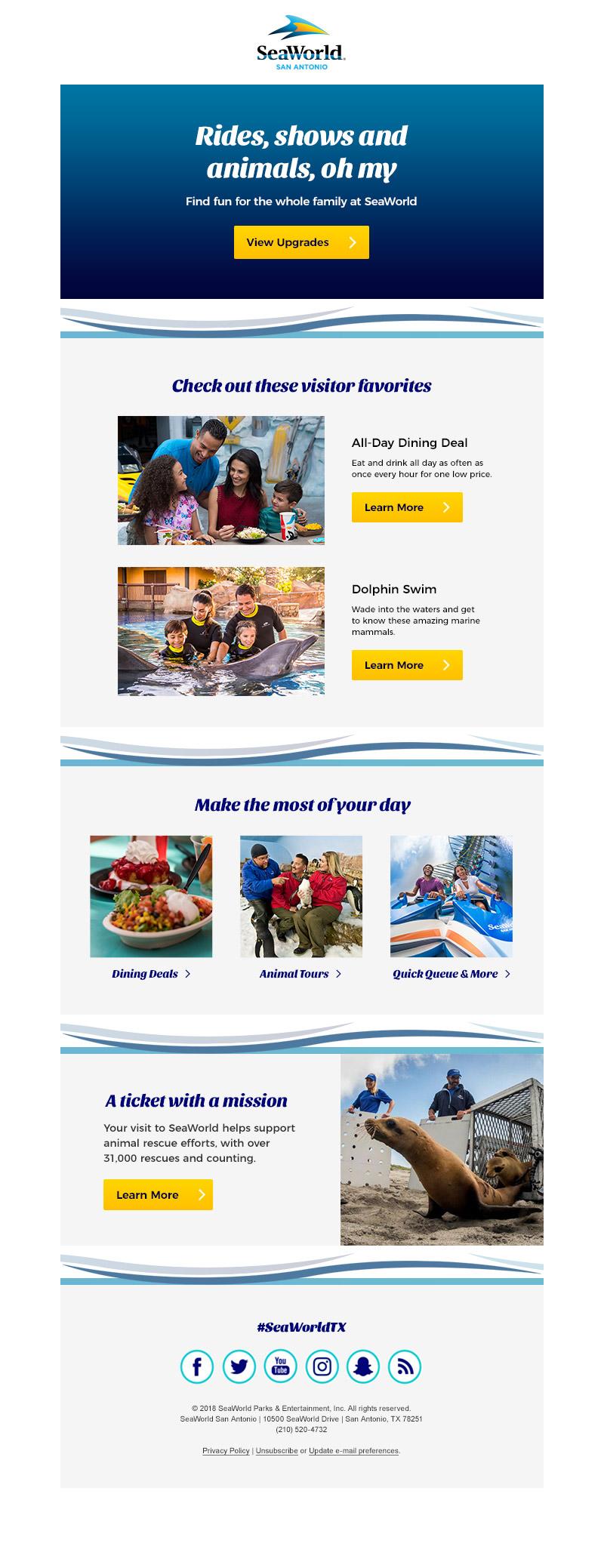 Post purchase upgrade email (SeaWorld San Antonio)